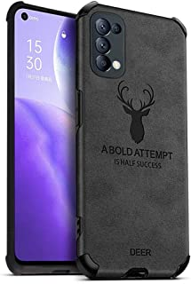 MOONCASE Oppo Reno5 Pro Case, Ultra-thin Matte Leather Back Case [Air Cushion] Silicone Soft Edge Shockproof Full Body Pro...