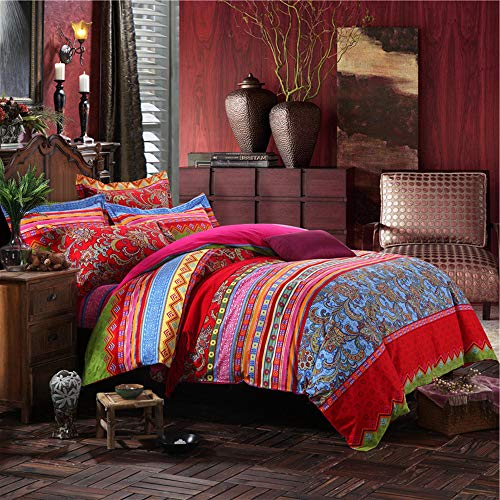wide smile Cotton Bohemian Duvet Cover Set Double Size Ethnic Exotic Style Mandala boho Bedding Set (Red3, King)