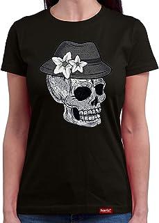 HARIZ Damen T-Shirt Rundhals Totenkopf Mit Wiesn Hut Vintage Oktoberfest Wiesn Herzl Tracht Dirndl Lederhose Inkl. Geschenk Karte