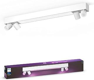 Philips Hue Centris White & Colour Ambiance Smart Ceiling Bar Light, 4X Spotlights [GU10 Spot] with Bluetooth, White, Comp...