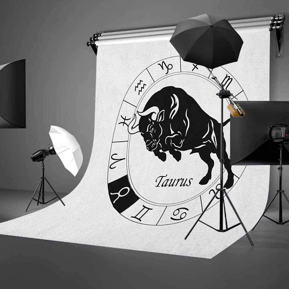 8x12 FT Zodiac Taurus Vinyl Photography Background Backdrops,Mythological Ox Jumping Silhouette in a Zodiac Wheel with Twelve Signs Background Newborn Baby Portrait Photo Studio Photobooth Props