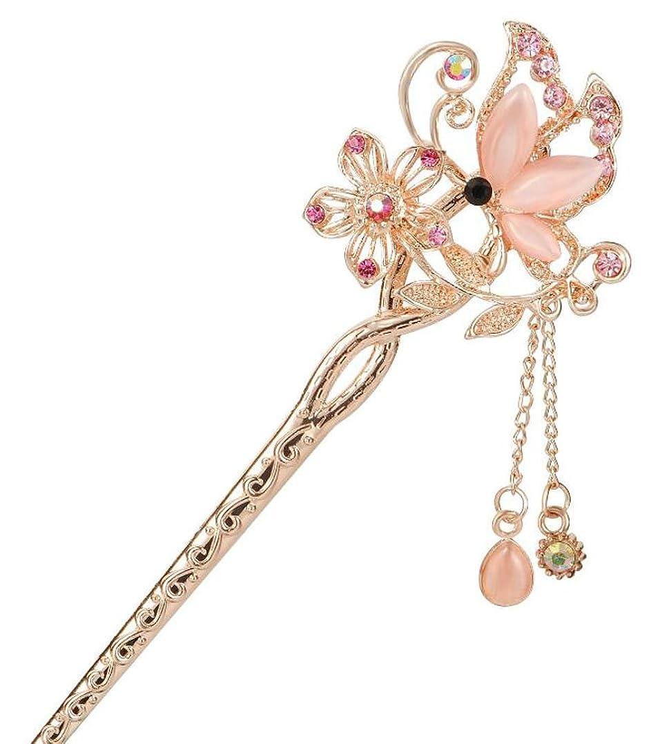 合成器用必需品エレガントなヘアピン女性の女性の髪の装飾ピンクの蝶