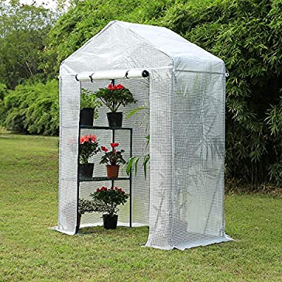 """Mellcom Mini Walk-in Greenhouse,Indoor Outdoor Plant Gardening, 2 Tier 6 Shelves Hot House for Flowers, Plants and Vegetables 56""""x 84"""" x 77"""" White"""