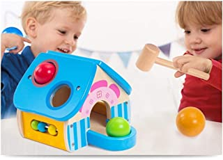 HTJSDC Baby toys wooden balls home toy small hammer balls hit educational interactive children