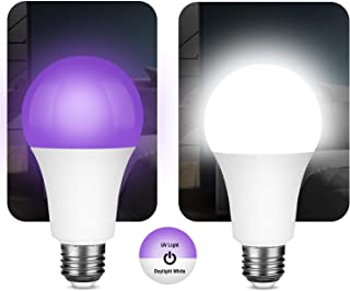 LED Black Light Bulb, UVA Level 395-405nm, 10W A19 E26 Blacklight Bulbs, 2 Pack Black Light Bulb with White Color for Glow...
