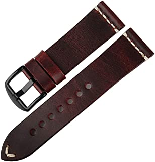 DITOU Watch Band 20mm 22mm 24mm, Vintage Oil Wax Leather (Greasedleather) Watch Strap 6 Colors Available Watchband