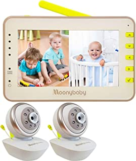 Video Baby Monitor 2 Cameras, Split Screen by Moonybaby, Pan Tilt Camera, 170 Degree Wide View Lens Included, 4.3 inches L...