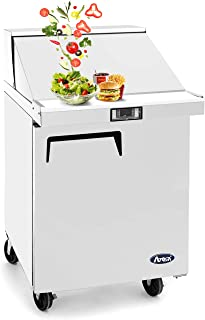 Salad Sandwich Prep Table Refrigerator,ATOSA Commercial 1 door Stainless Steel Salad Sandwich Prep Table Refrigerator MSF8301 for Restaurant Kitchen 6.5 Cu.Ft. 27.5W30D43.7H inch 33℉—38℉