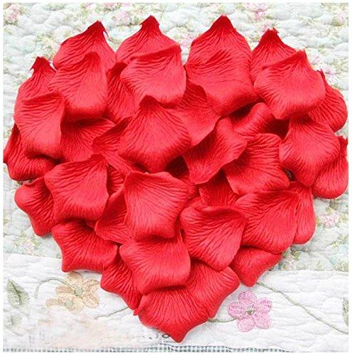 Fablcrew Lot de 1000 Pièces Pétales de Rose Artificielle en Soie de Polyester pour Décoration Fête de Mariage Rouge