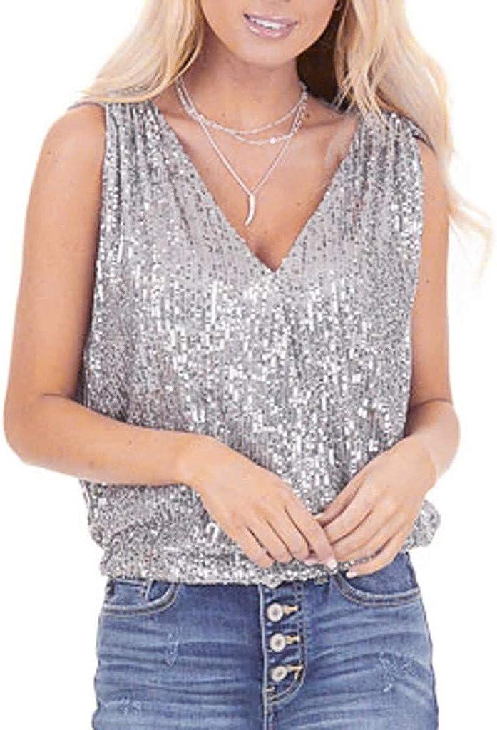 Forthery-Women Glitter Sequin Tank Top Flowy Hem Sleeveless Shimmer Tops Camisole