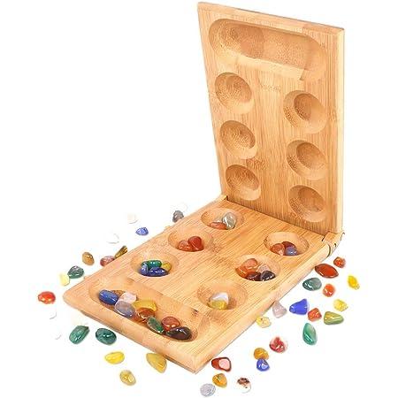Smilerain マンカラ 石 カハラ マンカラゲーム まんから 折りたたみ式 Mancala戦略ゲーム ボードゲーム マンカラカラハ 竹製