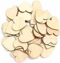 TRIXES 100 x Cuori in legno (5 cm) - Cuori in legno grezzo - per matrimoni, decorazioni o lavori artigianali