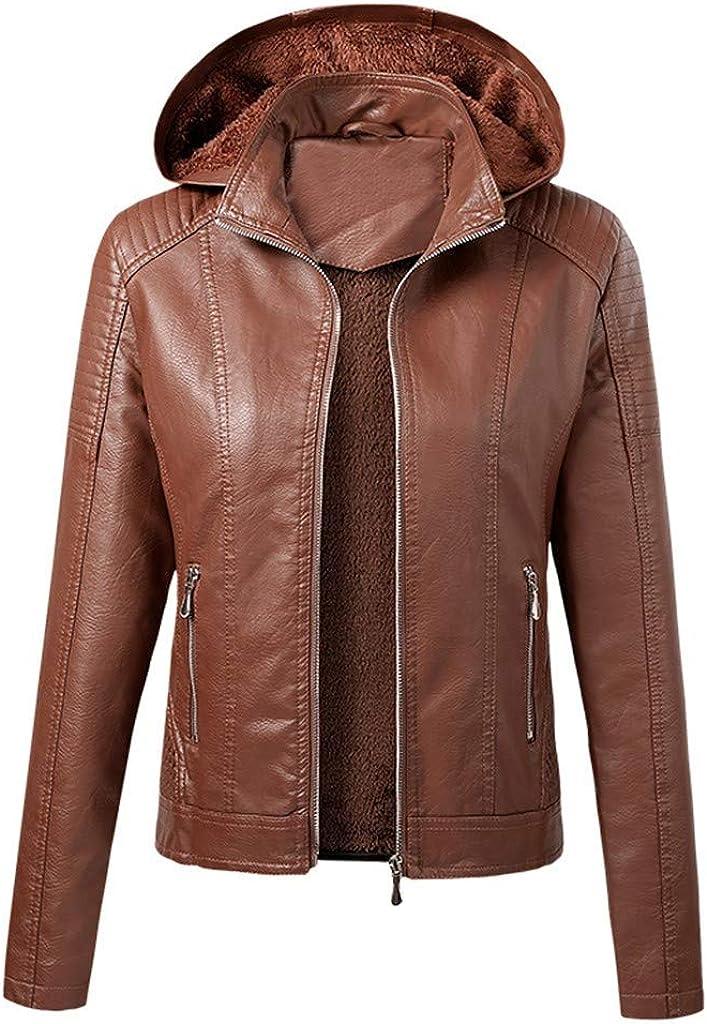 ATRISE Women's Removable Hooded Faux Leather Moto Biker Jacket,Sweatshirts Jacket Sweatshirt Zipper