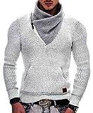 Indicode Caballeros Dane Suéter De Invierno Punto Grueso con Cuello Chal | Caliente Pullover Moderno Jersey Marca Hoddie Más Cómodo para Hombres En Off White M