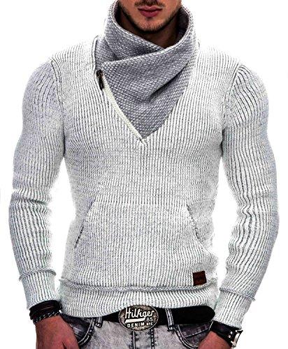 Indicode Uomo Dane Pullover Invernale A Maglia Grezza con Colletto Sciallato | Caldo Moderno Marchio Hoddie Maglione Comodo in per Uomo off White L