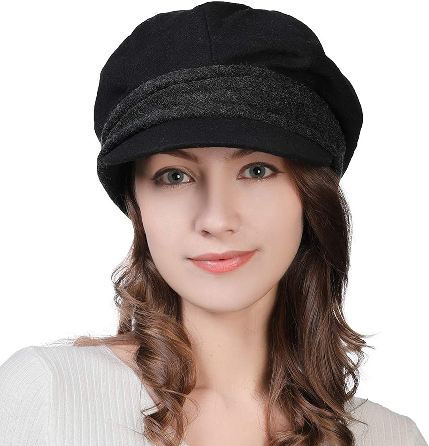 Womens Newsboy Cap Visor Beret Paperboy Conductor Painter Winter Fall Hat 5659cm