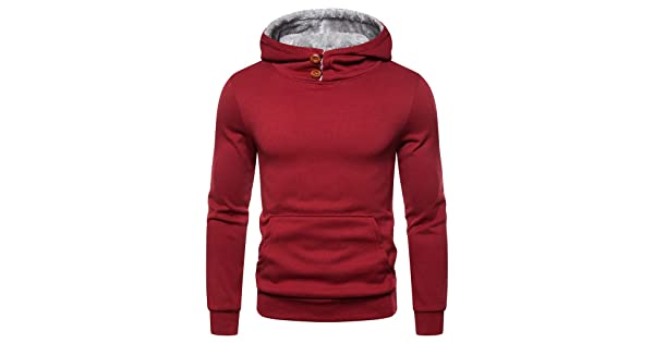 YUNY Mens Casual Big /& Tall Fall Winter Pullover Solid Color Tee Shirt Red M
