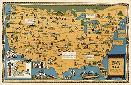 USA Native American Indian Tribes Pictorial Map Wall Poster 3 Sizes 16 x24 product image