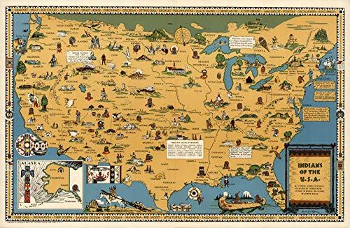"Riley Creative Solutions ▋ USA Native American Indian Tribes | Pôster de parede de mapa fotográfico (3 tamanhos), 23""x35"""