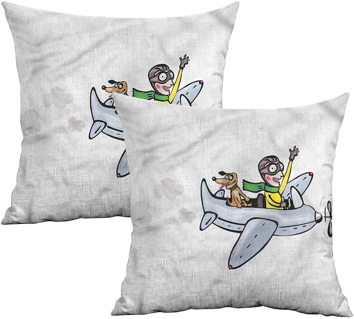 Khaki home Boys Room Square Zippered Pillowcase Air Doodle Style Flight Square Body Pillowcase Cushion Cases Pillowcases for Sofa Bedroom Car W 20  x L 20  2 pcs