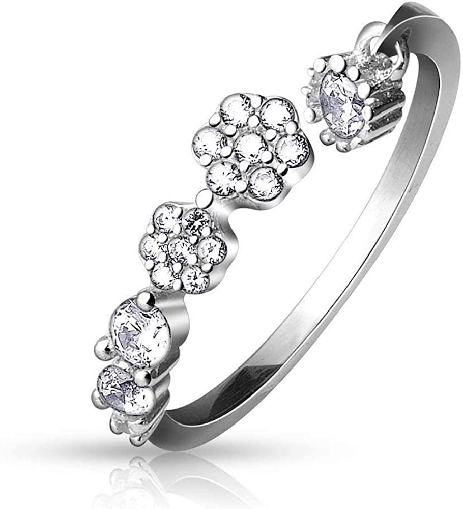 CZ Paved Flowers and Round CZ Dangle Adjustable Toe Ring