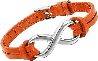 سوار جلدي OIDEA للرجال والنساء الأزواج من الفولاذ المقاوم للصدأ رمز اللانهاية ، يصلح لسوار 6-8.1 بوصة