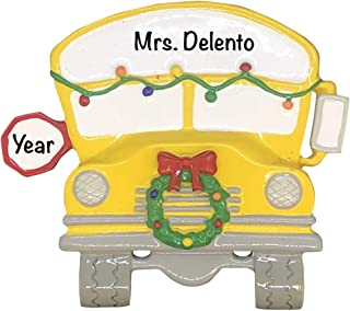 School Bus Personalized Ornament - Unique Christmas Tree Ornament - Special Keepsake - Custom Decorations for Professors, Teachers, Students - Personalization Included