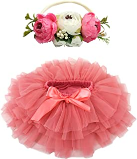 BGFKS Baby Girls Soft Fluffy Tutu Skirt with Cotton Diaper Cover,Toddler Girl Tutu Skirt Sets with Flower Headband .(Water...