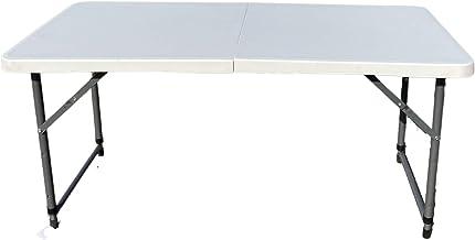 طاولة رحلات بلاستيكية قابلة للطي بأرجل معدنية (أبيض)
