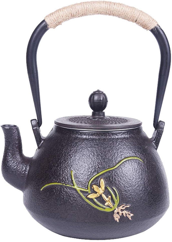 Théière Bouilloire en fonte avec théière (1.2L, motif de fleurs)