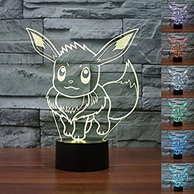 Pokemon Go Pikachu 3d luz de noche 7Cambio de color LED Lámpara de escritorio de regalo de Navidad Tocar de worldwideonlineship