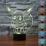 Pokemon Go Pikachu Veilleuse LED 3D à 7couleurs changeantes –lampe de bureau, cadeau de Noël Pattern D