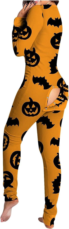 Afelkas Womens Rompers Halloween Long Sleeve Pajamas Kawaii Print Jumpsuit Functional Back Buttons Flip One-Piece Pant