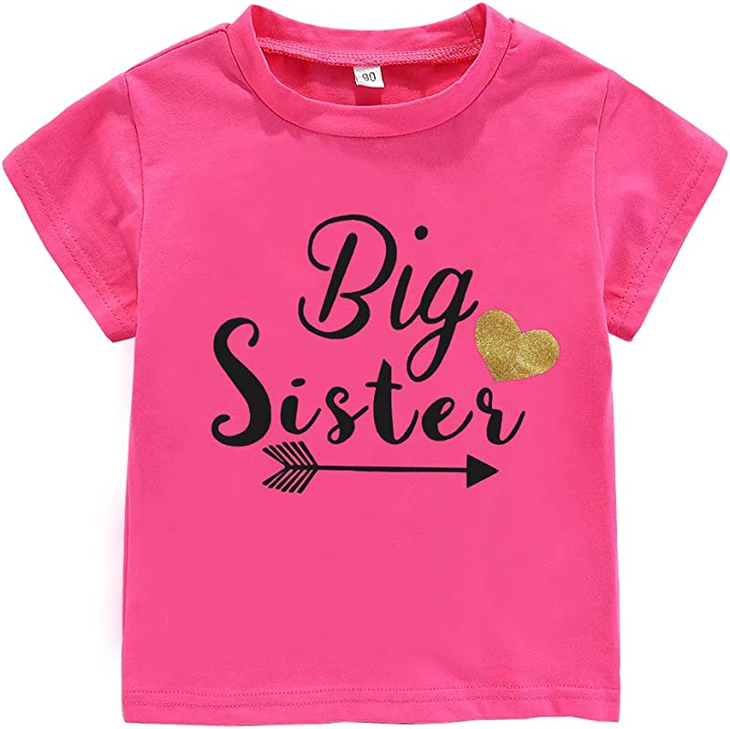 WINZIK Little Baby Girls Kids Toddlers Outfits Big Sister Print T Shirt Pullover Tee Tops Clothes Costume Gift