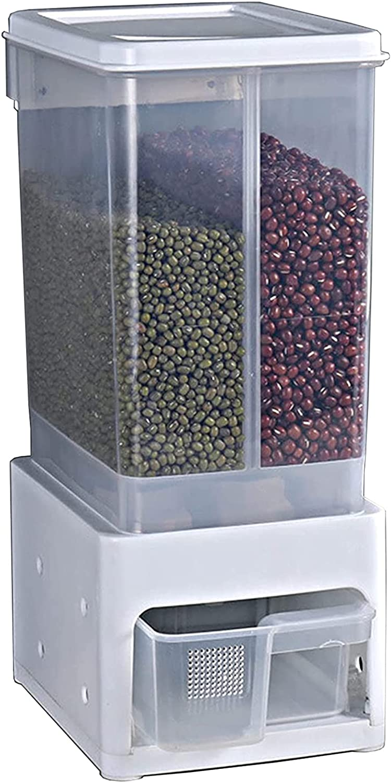 Distribuidor de cereales 2 en 1,contenedor de distribución arroz cocina,Frascos herméticos para alimentos,Contenedor de almacenamiento alimentos secos montado en pared,para almacenamiento cereaWhite