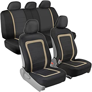 Advanced Performance Car Seat Covers - Instant Install Sideless Fronts + Full Interior Set for Auto (Beige)
