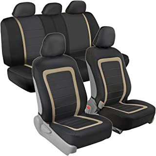Advanced Performance Car Seat Covers - Instant Install Sideless Fronts + Full Interior Set for Auto (Black/Beige)