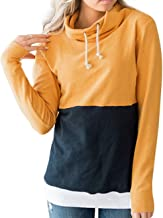 joyliveCY Womens Patchwork Pullover Sweatshirts Long Sleeve Casual Cowl Neck Drawstring Tops