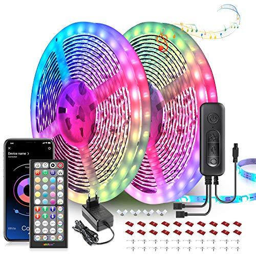 Striscia Led, 20M Led Striscia 2x10m Strisce Luminose con Controller Bluetooth Sincronizza con la Musica Adatto per TV, Camera da letto, Decorazioni per feste e per la casa