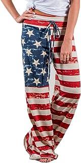 Qootent Women Wide Leg Pants Loose Trousers American Flag Drawstring Leggings
