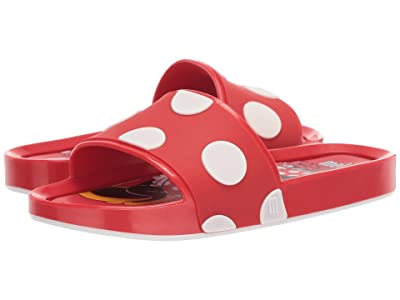 Mini Melissa Mel Beach Slide + Mickey and Friends II (Little Kid/Big Kid) (Red/Off-White) Girl