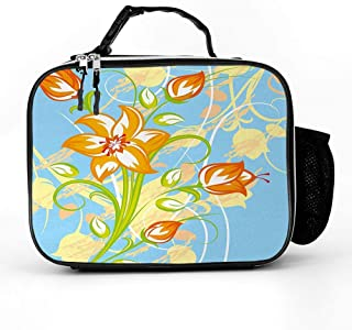 Ngkaglriap Tiger Lily in Retro Vibrant Colors Essence Buds Florets Picture Lunch Bag Detachable leather Hot&Cold Portable Lunchbox Handbag for Adults Men Women Student