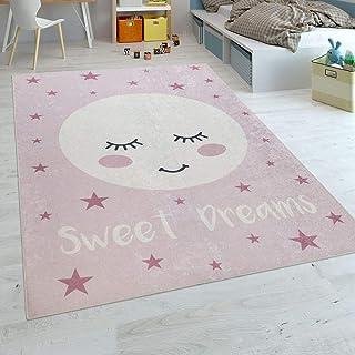 Paco Home Tapis Enfant Chambre Enfant Filles Lavable Étoiles Mignon Lune  Inscription Rose, Dimension: