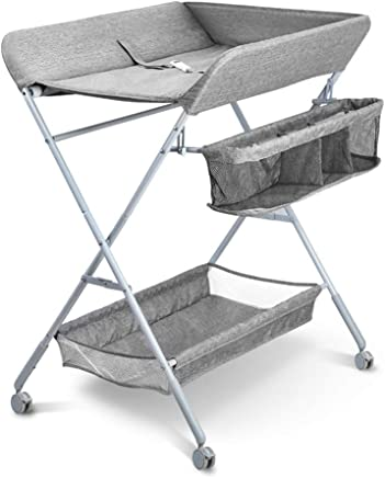LXF Baby Changing Table for Small Space  Grey Newborn Diaper Station with Wheels  Massage Touch Newborn Dresser