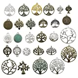 100g Craft Supplies Mixed Tree Of Life Pendants Beads Charms Pendants for Crafting, Jewelry Findings Making Accessory For DIY Necklace Bracelet (M075)