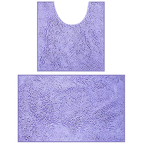 Bathroom Rugs Chenille Bath Mat Set, Soft Plush Non-Skid Shower Rug +Toilet Mat.(Lavender)
