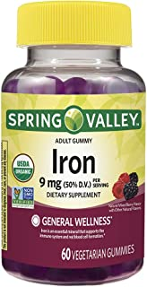 Spring Valley Organic Iron 9 mg, General Wellness, Mixed Berries, 60 Vegetarian Gummies