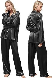 مجموعة ملابس نوم نسائية من Ladies eshow، بيجامات من الساتان للنساء، مجموعة ملابس نوم للسيدات ناعمة بأزرار (S-XXL)
