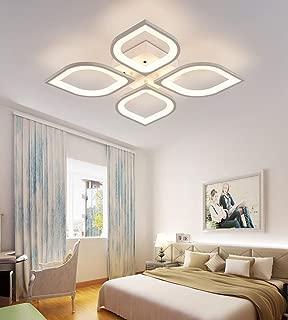 LITFAD 4 Heads Petal Semi Flush Light Monochromatic LED Ceiling Light Fixture 110-120V 40W Modern Acrylic Ceiling Lamp with White Metal Canopy for Living Room Bedroom Restaurant - White