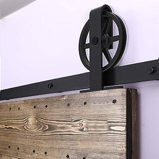 Rail Porte Coulissante 183cm/6ft Noir, CCJH Kit Rail Coulissant Armoire Placard, Convient à 1 Porte Large de 92 cm [T Shap...